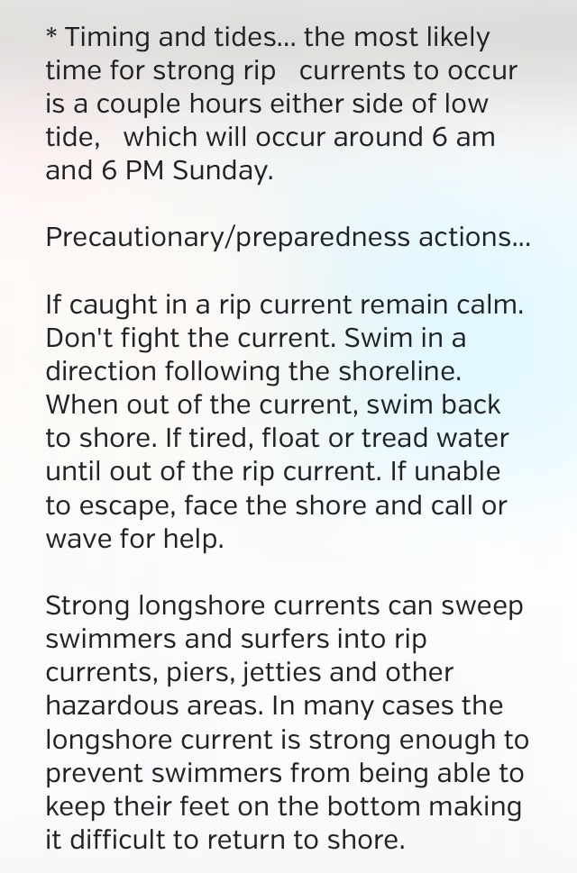 Rip current risks and preparedness actions for August 27, 2017