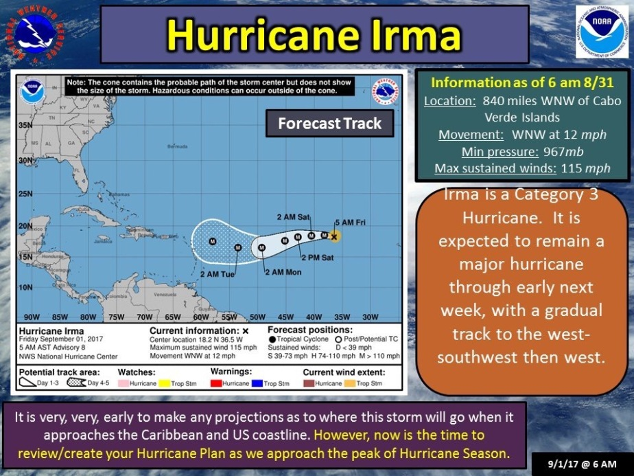 Early Hurricane Irma Forecast Track